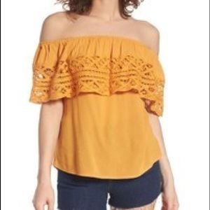 SOCIALITE yellow off the shoulder crocheted top